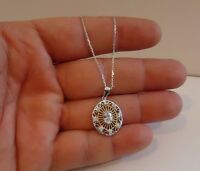 TWO TONE NECKLACE PENDANT W/ 1 CT  LAB DIAMONDS  / 925 STERLING SILVER /18''