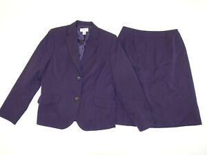 Talbots Women's Skirt Suit Size 8 Petite Purple 2 Button Blazer 100% Wool 8P