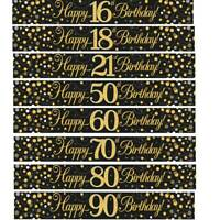 9ft Banner Sparkling Fizz Happy Birthday Black & Gold Holographic All Ages