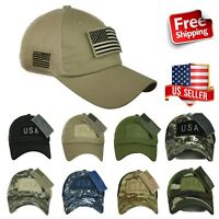USA American US Flag Baseball Cap Mesh Trucker Tactical Operator Army Camo Hat