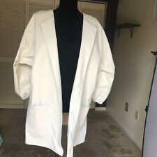 Zara White Open Front Fashion Coat Leather Look