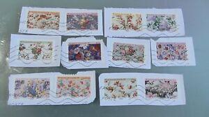 Nouveauté 2021 Série 12 timbres oblitérés France -Carnet Motifs de fleurs