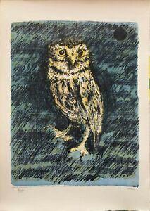 Piero Vignozzi litografia Civetta 1978  71x50 firmata numerata il Bisonte