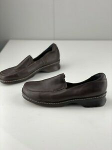 Easy Steps Womens Nevan Brown Leather Casual Slip On Shoes Closed Toe Size 9 C