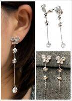 Silver Zircon Crystal Diamante Long Dangle Tassel Clip On Butterfly Earrings