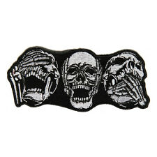 Embroidered 3 Skulls Heard Seen Said Nothing Sew or Iron on Patch Biker Patch