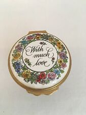 """Halcyon Days Enamel Box - Mother'S Day 1983 - Flower Basket - """"With Much Love"""""""
