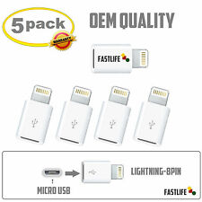 5 Pack Micro USB to 8-Pin for Apple Lightning Adapter fits iPhone 5 iPhone 6 6s
