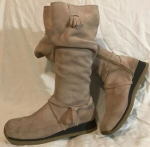 Zone Beige Mid Calf Suede Boots Size 7 (633Q)