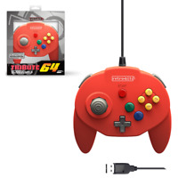 Tribute 64 N64 USB Wired Game Pad Controller Red for Nintend Switch / PC / Mac