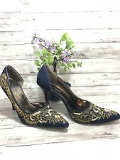 Anne Michelle Size 9 Dark Denim Sequin Pearl Jeweled Pointed Toe Pumps -(m)