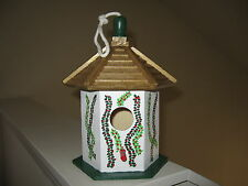 CHRISTMAS BIRDHOUSE-GAZEBO STYLE-HOLLY DESIGN-HAND PAINTED- EASY DISPLAY!!!