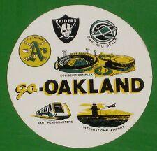 OAKLAND RARE VINTAGE 1970s GO Oakland! RAIDERS SEALS A'S STICKER MLB NHL NFL