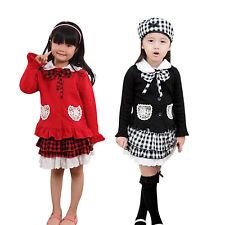 Niño Niña Bebé 3 pzas DISFRAZ LAZO TOP COAT Cuadros Falda sombrero vestido ropa
