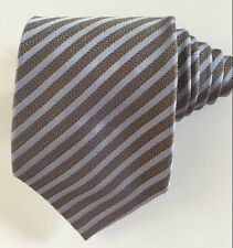 Hugo boss men tie striped blue and light brown 100 % silk excellent condition