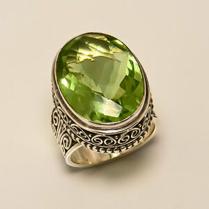 Peridot Quartz Ring 925 Solid Sterling Silver Handmade Jewelry Size 3-13 US