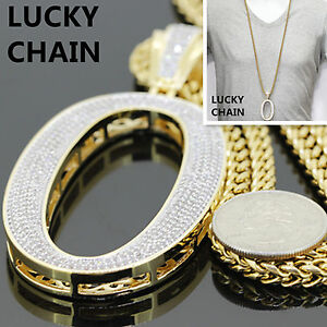 """14K YELLOW GOLD FINISH BLING OUT NUMBER 0 PENDANT 36""""FRANCO BOX CHAIN 113g 0"""
