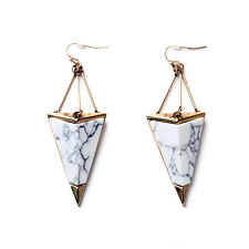 Triangle Art Deco White Turquoise X8 Costume Fashion Earrings Gold Big Drop