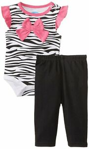 3-6 Month BON  BEBE Baby-Girls Newborn Zebra Print 2 Piece Jogging Bodysuit Cute