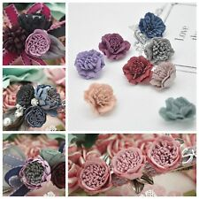 10pcs Gorgeous Small Flower with Faux Suede Stamen 20mm DIY supplies Hair Access