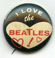I Love the Beatles Vintage Pinback Button Pin Green Duck Chicago USA Made BK914