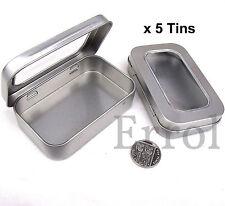 """5 x Altoid Size Tins.  Hinged Window Lid 3¾"""" x 2⅜"""" x ⅞"""" (96mm x 60mm x 21mm)"""