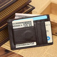 Slim real leather credit card oyster holder mini thin wallet photo ID case