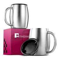 FineDine Double Wall 18/8 Stainless Steel Coffee Mugs with Spill Resistant Lids