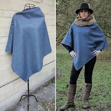 Beautiful Tweed poncho cape wrap blue grey satin lining. great all yr
