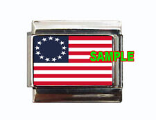 Betsy Ross USA Flag Custom Italian Charm! Beautiful look for your bracelet!