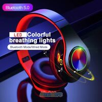 LED Breathing Lights Wireless Bluetooth 5.0 Noise Canceling Over Ear Headphones