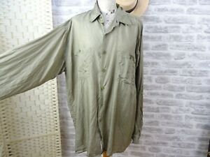 vintage mans or unisex silk shirt grey green C&A  size XL   T286