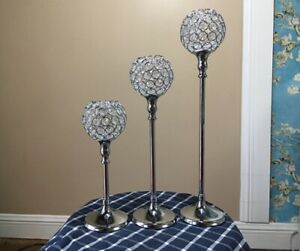Metal Silver Acrylic Crystal Beads Bling Tealight Candle Holder Wedding Decor