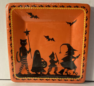 "Caspari Halloween Witches Hat Fall Paper 8"" Salad - Dessert Plates NIP NOS 14217"