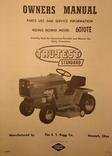 RUGG Tru-Test Standard 6010TE Riding Lawn Garden Tractor Owner & Parts Manual