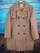 Old Navy Khaki Brown Peacoat  Men's XL Big Buttons 100% Cotton Double Breasted