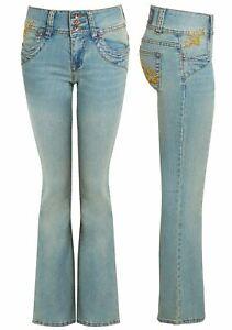 Womens Light Blue Green stretch Jean Denim Bootcut Jeans Size 8 10 12 14 New