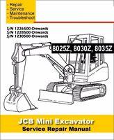 JCB 8025z 8030z 8035z Mini Crawler Excavator Workshop Service Manual