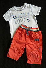 Baby clothes BOY 3-6moutfit red lined cotton trousers/short sleeve t-shirt white