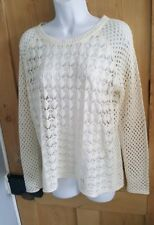WAREHOUSE CREAM OPEN KNIT CROCHET STYLE BOAT NECK JUMPER. SIZE 10.