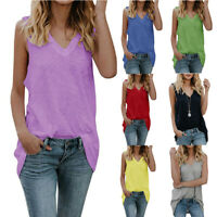 Womens Sleeveless V Neck Long Tops Plus Size T Shirt Dress Casual Solid Tank Top