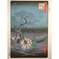 HIROSHIGE JAPANESE WOODBLOCK PRINT Fox Fires Oji Shozoku Omisoka no kitsunebi fs