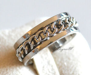Stainless Steel Large Chain Thumb Ring Wedding Band Men Women Unisex Silver