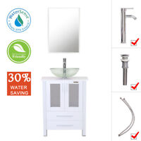 "24"" Bathroom Vanity Tempered Clear Glass Vessel Sink Set  Mirror Faucet White"