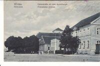 uralte AK Windau Hafenstraße mit dem Schloßberg Feldpost 1917 Ventspils //75