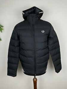 Fred Perry Twin Tipped Hooded Insulated Puffer Jacket Black / White