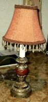 """Accent Lamp 13"""" Red and Gold Cloth Shade with Clear Bead"""