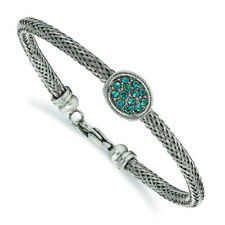 """Chisel Stainless Steel Polished and Textured Blue Crystal 7.25in. Bracelet 7.25"""""""