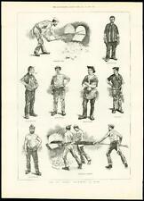 1889 antica stampa GAS LAVORATORI Sciopero-al lavoro Scoop Driver COKE Disegno (325)