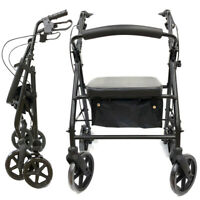 Medical Rollator Walker Foldable Compact Rolling Walker Mobility Soft Seat FDA
